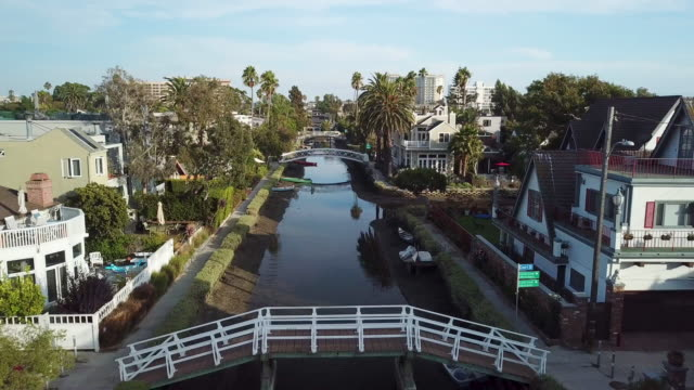 venice california canals - aerial drone shot - venice beach stock videos & royalty-free footage