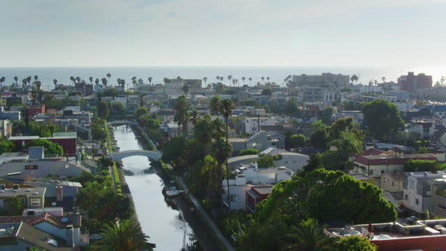 venice canals and pacific ocean - drone shot - canal stock videos & royalty-free footage