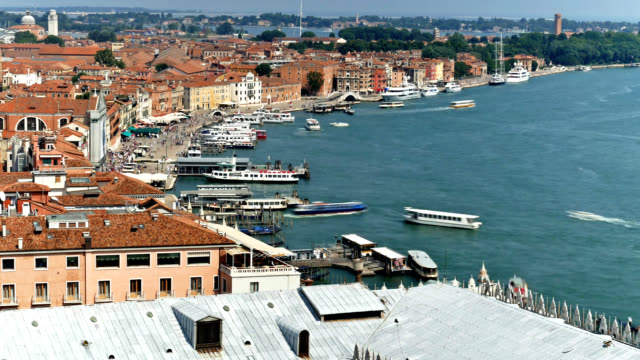 Venice harbour overview timelapse with tourist boats and gondolas