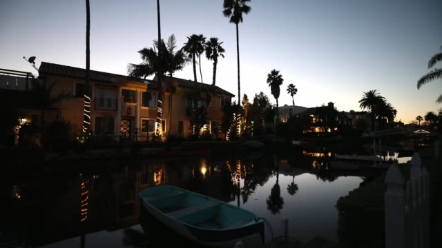venice in los angeles, canals at sunset - venice california stock videos & royalty-free footage