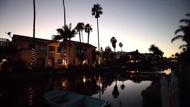 venice in los angeles, canals at sunset - riverside california stock videos and b-roll footage