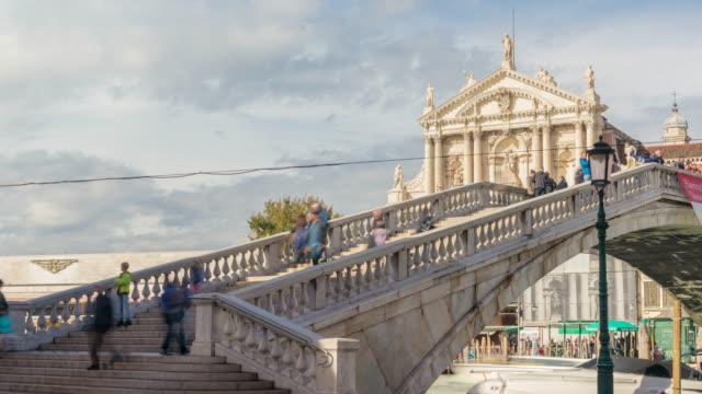 venice italy crowd people walking across the bridge grand canal of  venice italy - fast motion stock videos & royalty-free footage