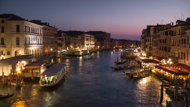 Venice Italy , Grand Canel sunset to night from rialto bridge