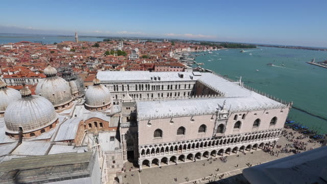 Venice, view of the Dodge's Palace and the Basilica of San Marco, and ships in the background.