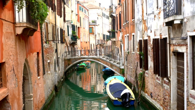 venice with boats and old houses, realtime - venice italy stock videos and b-roll footage