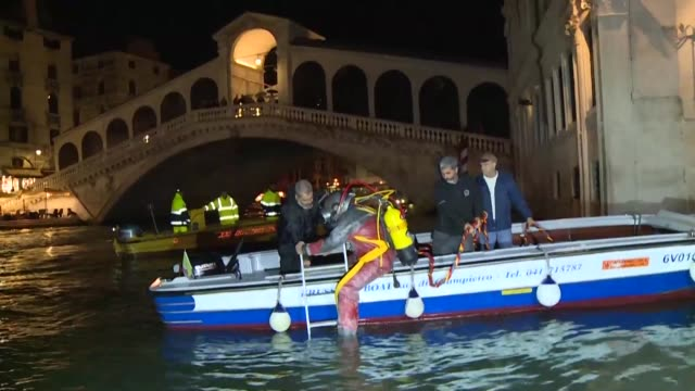 venice's gondoliers are swapping boating hats for scuba helmets and diving into canals in a clean-up operation of the unesco city that has turned up... - aqualung diving equipment video stock e b–roll