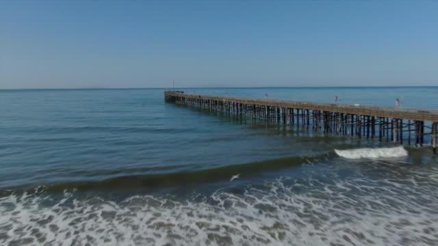 ktla ventura ca us drone aerials of ventura beach pier on sunday april 19 2020 - horizon over water stock videos & royalty-free footage