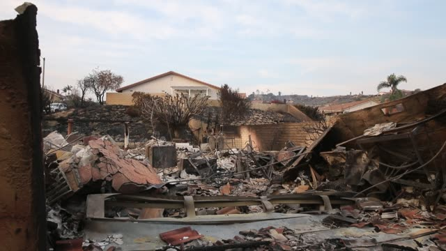 homes sit destroyed after the thomas fire burned through the colina vista neighborhood of ventura california - colina stock videos & royalty-free footage