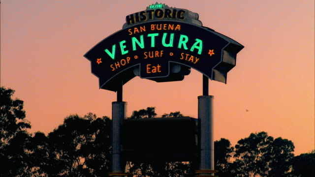 ms 'ventura' sign at sunset, ventura, california, usa - ventura stock videos and b-roll footage