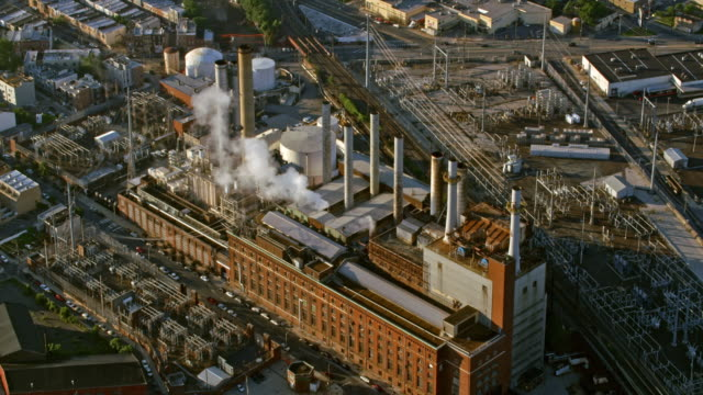 aerial veolia power plant in philadelphia, pennsylvania - philadelphia pennsylvania stock videos & royalty-free footage
