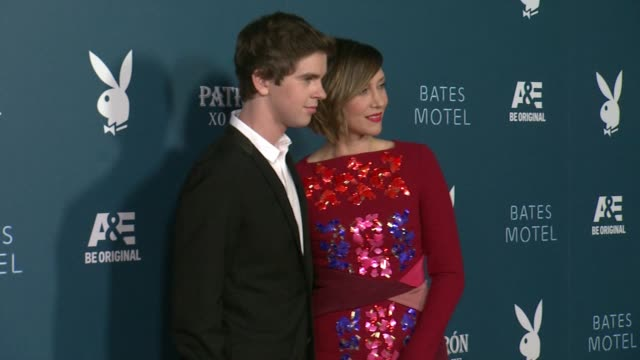 vera farmiga and freddie highmore playboy and ae's bates motel event during comiccon weekend on july 25 2014 in san diego california - playboy magazine stock videos and b-roll footage