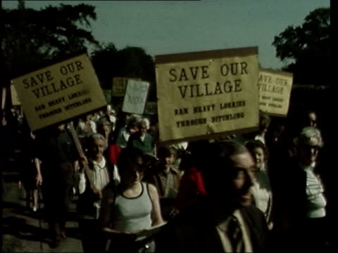 vera lynn demonstrates against juggernauts england east sussex ditchling ext gvs people with placards protesting against lorries in village vera lynn... - east sussex stock videos & royalty-free footage