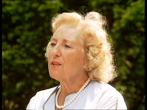 the forces sweetheart england sussex ditchling dame vera lynn along with reporter dame vera lynn interview sot cutaway two shot with reporter - affectionate stock videos & royalty-free footage