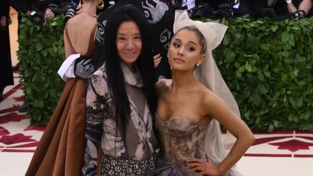 vera wang and ariana grande at heavenly bodies fashion the catholic imagination costume institute gala at the metropolitan museum of art on may 07... - ariana grande stock videos & royalty-free footage