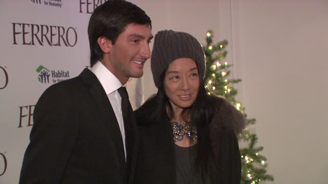 Vera Wang and Evan Lysacek at the Ferrero Chocolates and Evan Lysacek Fashion Event at New York NY