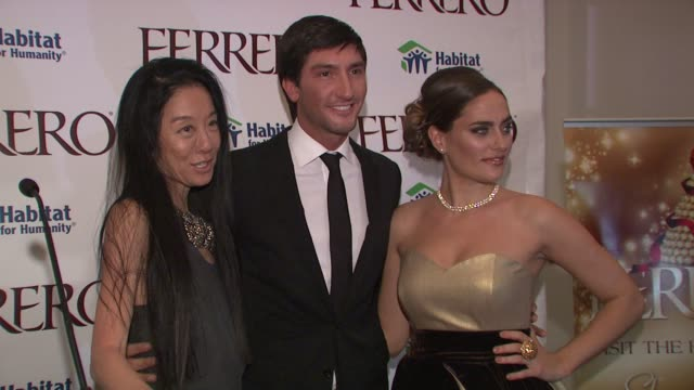 Vera Wang Evan Lysacek and Diana Lovrin at the Ferrero Chocolates and Evan Lysacek Fashion Event at New York NY