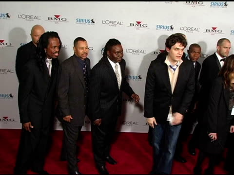 verdine white, ralph johnson and philip bailey of earth, wind and fire with john mayer at the clive davis' 2005 pre-grammy awards party arrivals at... - clive davis stock videos & royalty-free footage