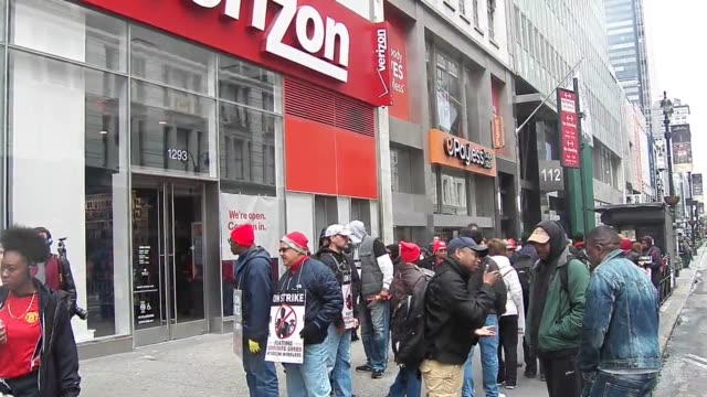 about 50 workers picketline outside the verizon store on 34th street in new york city 39000 striking verizon workers take to picket lines across the... - 34th street stock videos and b-roll footage