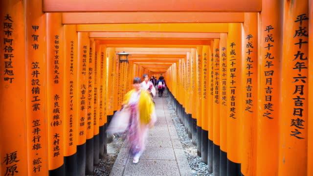 Vermilion colored Torii gates of Fushimi Inari Shrine, Kyoto, Kansai Prefecture, Honshu, Japan