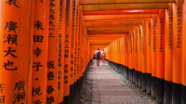 Vermilion colored Torii gates of Fushimi Inari Shrine, Kyoto, Kansai Prefecture, Honshu, Japan