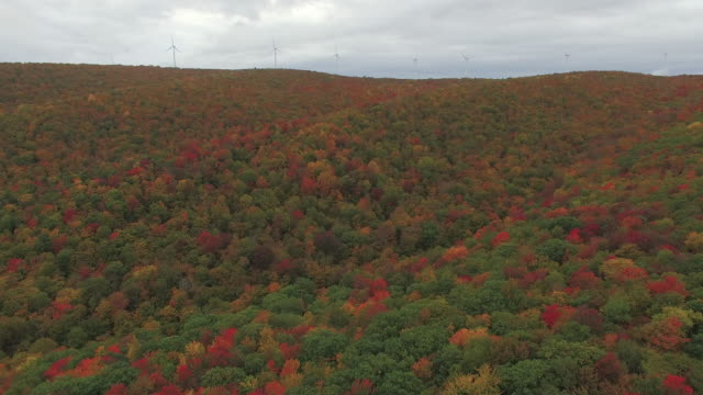 vermont aerial footage, fall foliage. wind farm. - vermont stock videos & royalty-free footage