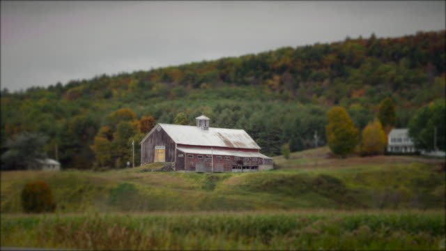 Vermont farm in autumn with selective focus
