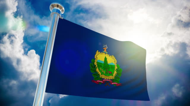 4k - vermont flag | loopable stock video - montpelier  vermont stock videos & royalty-free footage