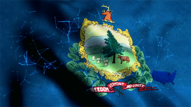 vermont flag waving animation - country geographic area stock videos & royalty-free footage