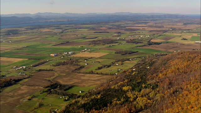 vermont landscape - aerial view - vermont,  addison county,  united states - vermont stock videos & royalty-free footage