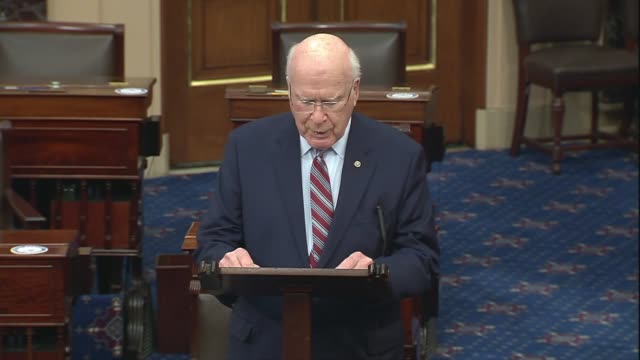 vermont senate pat leahy says in senate floor remarks that constituents had called and written his office, one concerned he would be evicted from his... - リーハイ点の映像素材/bロール