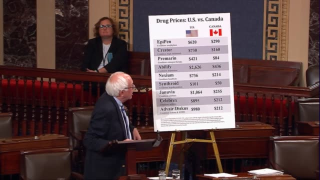 vermont senator bernie sanders refers to a chart on the senate floor showing the differences in pharmaceutical costs paid by american and canadian... - prescription drug costs stock videos & royalty-free footage