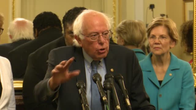 vermont senator bernie sanders says at a press conference opposing judge brett kavanaugh for the supreme court that women's rights are at serious... - brett kavanaugh stock videos and b-roll footage