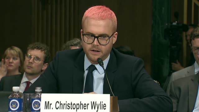 Vermont Senator Pat Leahy asks former Cambridge Analytica Research Director Christopher Wylie at a Senate Judiciary Committee at a hearing on data...