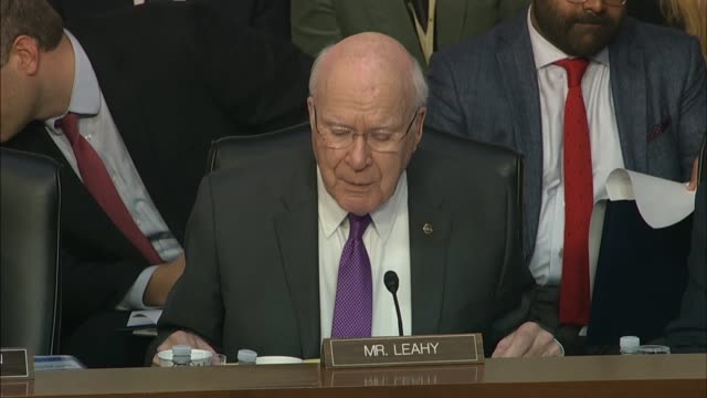 vermont senator patrick leahy asks justice department inspector general michael horowitz at a senate judiciary committee hearing about his report on... - michael horowitz stock videos & royalty-free footage