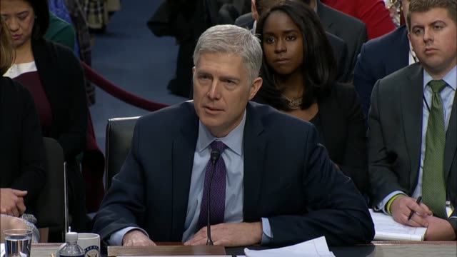 Vermont Senator Patrick Leahy engages Supreme Court nominee Judge Neil Gorsuch during the first round of questioning on the second day of his...