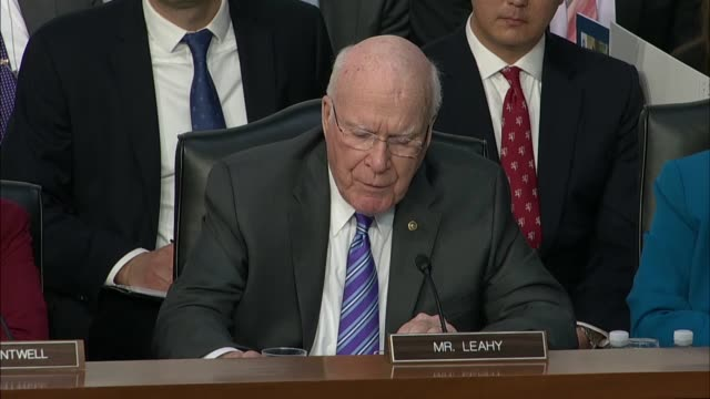 Vermont Senator Patrick Leahy questions Facebook CEO Mark Zuckerberg at a joint hearing on data privacy about whether personnel at his company has...