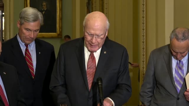 vermont senator patrick leahy tells reporters at a weekly briefing that when supreme court nominee brett kavanaugh worked in president bush's white... - brett kavanaugh stock videos and b-roll footage