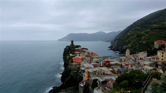 vernazza view of houses and blue sea, cinque terre national park, liguria, italy - five objects stock videos & royalty-free footage
