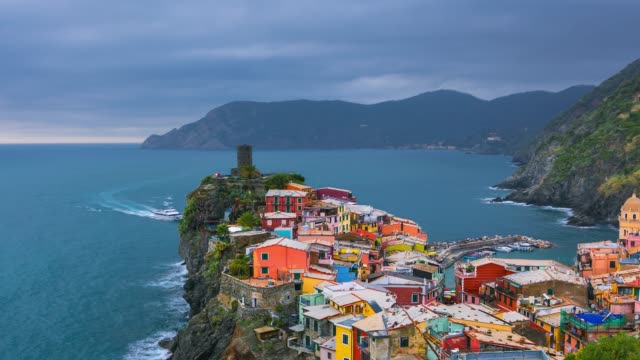 vernazza village and stunning sunsey, cinque terre, italy europe - mediterranean culture stock videos & royalty-free footage