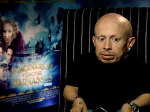 verne troyer on how difficult it was to continue, on it being the hardest thing he'd done, on seeing his stand-in and mistaking him for heath ledger,... - heath ledger stock videos & royalty-free footage