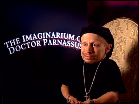 verne troyer on working with lily cole at the 'the imaginarium of doctor parnassus' junket at beverly hills ca - verne troyer stock videos & royalty-free footage