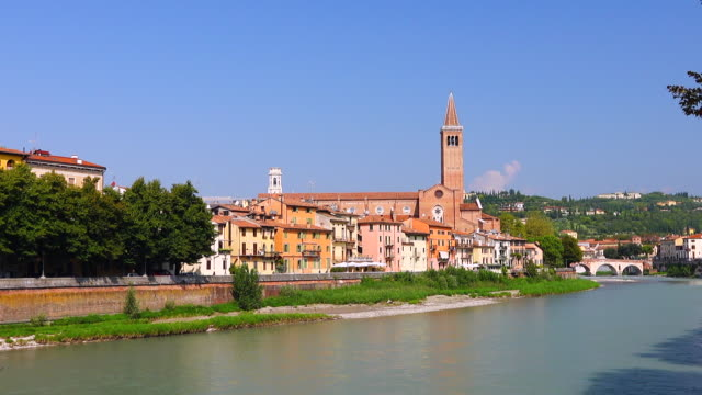 verona city view - italian currency stock videos & royalty-free footage