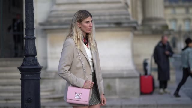 veronika heilbrunner wears a beige blazer jacket a white vneck pullover a red and black checked shirt a vuitton monogram skirt white socks shoes a... - pink shirt stock videos and b-roll footage