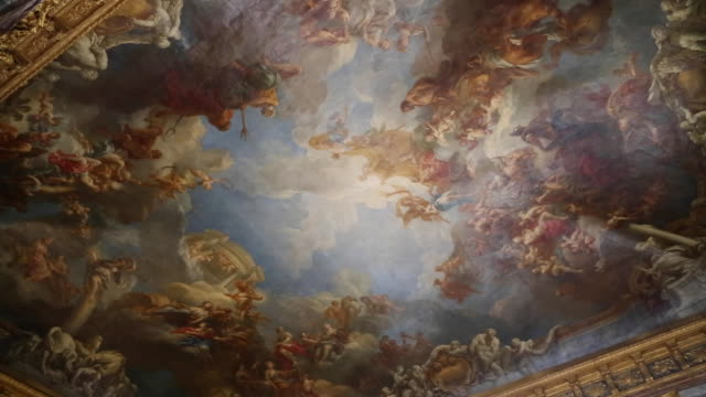 versailles (chateau de versailles),one of the painted ceiling in the palace - chateau de versailles stock videos and b-roll footage