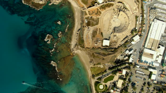 vertical aerial view of caesarea marittima national park and archaeological site - caesarea stock videos & royalty-free footage