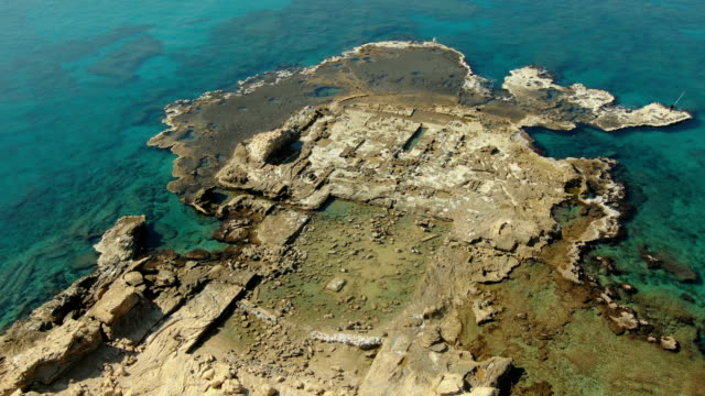 vertical aerial view of the promontory palace built by herod the great, ancient caesarea, israel - caesarea stock videos & royalty-free footage
