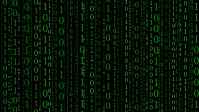 vídeos de stock e filmes b-roll de vertical binary codes on black background - código binário