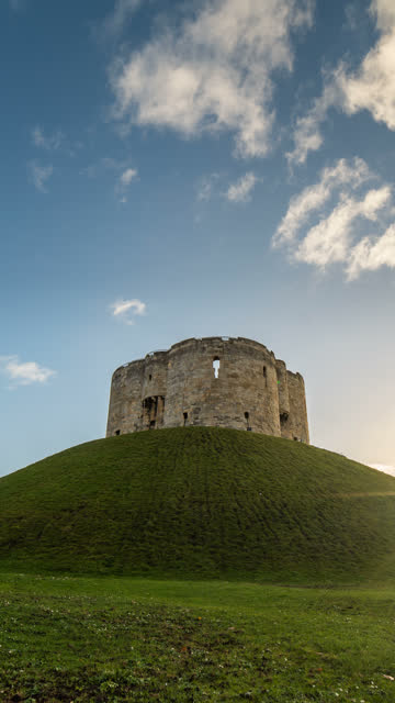 vertical t/l clifford's tower, sheffield, south yorkshire, england, uk, europe - vertical stock videos & royalty-free footage