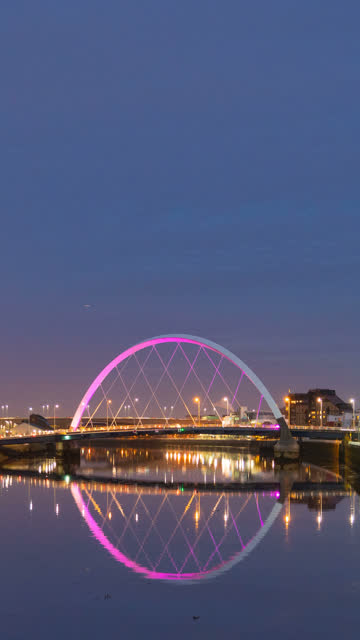 Vertical Day to Night Timelapse of Clyde Arc Bridge, Glasgow, Scotland, UK