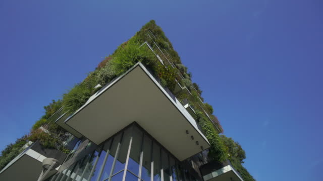 vertical garden bosco verticale in milan, italy - green colour stock videos & royalty-free footage